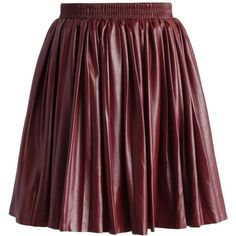 Chicwish Delight Faux Leather Pleated Skirt in Wine ($30) ❤ liked on Polyvore featuring skirts, red, red vintage skirt, vegan leather skirt, red skirt, vintage skirts and imitation leather skirt