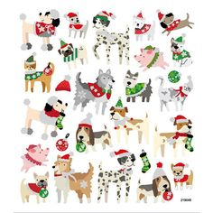Christmas Dogs Stickers • Christmas Animals • Christmas Packaging • Gift Wrap • Favors • Holidays Decorating • Stocking Stuffers (SK1512)