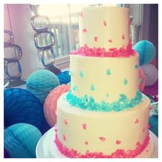 My gender reveal cake! It was a gorgeous ombré center!