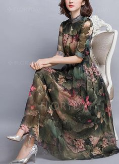 Midi dress green short sleeve casual floral printed holiday spring fall summer stand collar mid weight beach daytime a line non stretchy elegant polyester Daytime Dresses, Casual Summer Dresses, Trendy Dresses, Elegant Dresses, Women's Dresses, Beautiful Dresses, Dress Outfits, Nice Dresses, Fashion Dresses