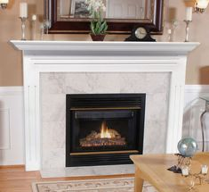 Pearl Mantels Newport Wood Fireplace Mantel Surround - Featuring clean lines and a simple design, the Pearl Mantels Newport Wood Fireplace Mantel Surround is constructed of durable MDF wood, a strong, dense. White Fireplace Mantels, Fireplace Mantel Surrounds, Classic Fireplace, Fireplace Shelves, Traditional Fireplace, Farmhouse Fireplace, Brick Fireplace, Fireplace Design, Fireplace Ideas