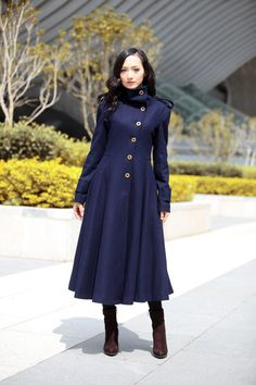Red Coat Big Sweep High Collar Women Wool Winter by Sophiaclothing ...