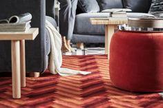 Gut Orange Roter Teppich Pouf Rattan Helles Holz Couchtisch Beistelltisch