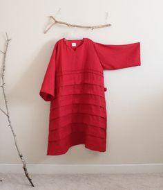 4XL 5XL 6XL red linen dress plus size custom fit by annyschoo eco clothing