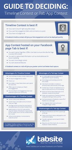 #Facebook #Contest Guide: Advantages Disadvantages   How to Choose Between Timeline and Tab Contests