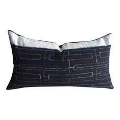 Image of Rustic Indigo Stripe Hmong Lumbar Pillow Cover