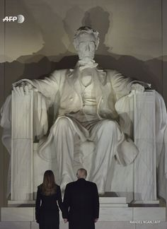 Donald Trump and Melania Trump visiting the Lincoln Memorial, Washington DC. 20 January 2017.