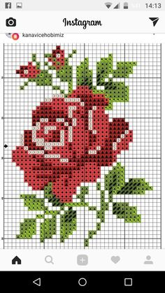 Cross stitch chart, a red rose with green leaves - Cross Stitch Cards, Cross Stitch Borders, Modern Cross Stitch, Cross Stitch Flowers, Cross Stitching, Funny Cross Stitch Patterns, Cross Stitch Designs, Cross Stitch Rose Pattern, Ribbon Embroidery