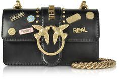 Pinko Mini Love Pins Black Eco Leather Shoulder Bag