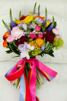 Rainbow colors for a cheerful bride