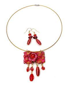 Ruby Red Earrings Boho Mandala Earrings Eco fashion.