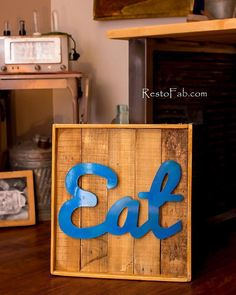 Items similar to Wood Eat Sign on Etsy Eat Sign, Retro Lamp, Signs, Unique Jewelry, Wood, Handmade Gifts, Vintage, Etsy, Home Decor