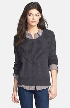 Ella Moss 'Lena' Mixed Knit Pullover (Nordstrom Exclusive) available at #Nordstrom