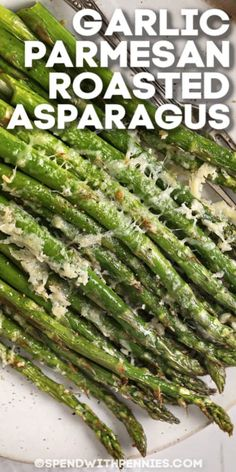 Garlic Parmesan Roasted Asparagus is an easy, delicious side dish that is ready in 10 minutes. Asparagus tossed with garlic & parmesan, then oven-baked! Side Dishes For Salmon, Steak Side Dishes, Side Dishes Easy, Vegetable Side Dishes, Asparagus Side Dish, Oven Roasted Asparagus, Grilled Asparagus, Baked Asparagus Recipes, Parmesan Recipes