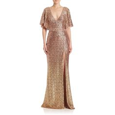 Marchesa Notte Sequin Embellished Gown ($945) ❤ liked on Polyvore featuring dresses, gowns, apparel & accessories, blush, notte by marchesa gowns, plunging v neck dress, slit dress, v neck sequin dress and sequin evening dresses