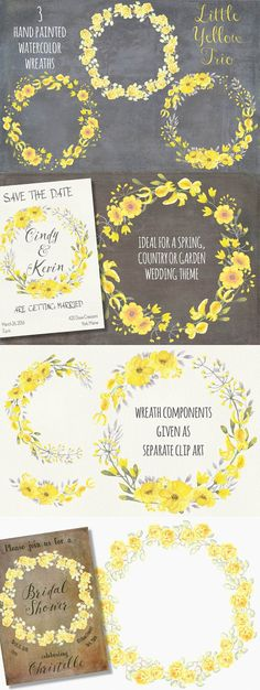 Watercolor floral wreath:yellow trio. Wedding Card Templates