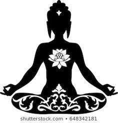 Mandala Art, Mehndi Art Designs, Silhouette Painting, Yoga Pictures, Buddha Meditation, Buddha Art, Yoga Art, Leaf Art, Airbrush