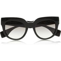 Prada Round-frame acetate sunglasses ($285) ❤ liked on Polyvore featuring accessories, eyewear, sunglasses, glasses, accessories - sunglasses, black, round frame, uv protection glasses, round frame sunglasses and prada sunglasses