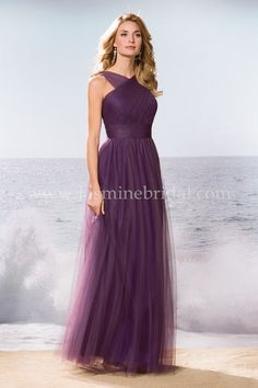 "Jasmine Bridal Bridesmaid Dress Belsoie Style L174061U in Orchid Shadow // An adaptable bridesmaid dress that also projects stylish sophistication. Made from Soft Tulle, this classic A-line dress features a gathered criss cross bodice with cut-out and can really find a place at any special occasion. This is the optional ""U"" version with no bodice cut-out."