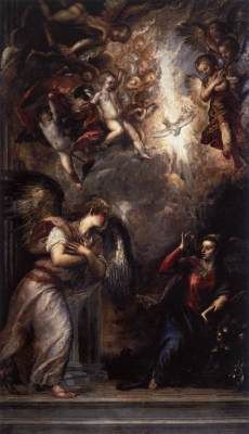 TIZIANO Vecellio (b. 1490, Pieve di Cadore, d. 1576, Venezia)   Click! The Annunciation  1562-64 Oil on canvas, 403 x 235 cm San Salvador, Venice  Withdrawing into a noble creative isolation in which he explored new forms of expression, Titian painted a series of works on sacred and secular subjects for the court of Spain and other clients.