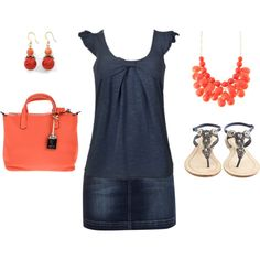 """Coral Navy Jean Skirt Outfit"" by ggdesigns on Polyvore"