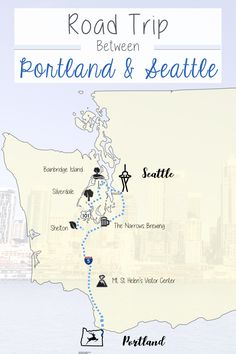 Road Trip Itinerary between Portland and Seattle. A prime road trip between Portland Oregon and Seattle Washington. Road Trip Map, Oregon Road Trip, Oregon Travel, Travel Usa, Travel Tips, Travel Hacks, Budget Travel, Travel Ideas, Washington State
