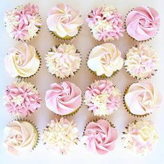 cute baptism or christening baby girl cupcakes Cupcakes Baby Shower Niño, Mini Cupcakes, Idee Baby Shower, Baby Shower Cupcakes For Girls, Floral Cupcakes, Baking Cupcakes, Christening Cupcakes Girl, Baby Girl Christening, 30th Birthday Cupcakes