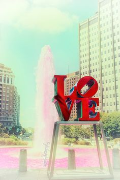 Philly Love Statue Photograph  8x8 Philadelphia Art  Romantic Gift For Him  Valentine Pink Red  Home Decor  Office Wall Art fpoe