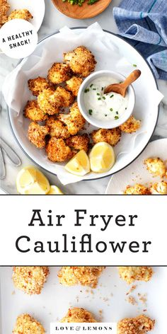Air Fryer Dinner Recipes, Air Fryer Recipes Easy, Appetizer Recipes, Air Fryer Recipes Vegetarian, Califlower Recipes, Healthy Snacks, Healthy Recipes, Healthy Cauliflower Recipes, Healthy Chicken