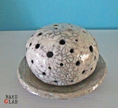 Portacandele in ceramica raku - Lampada in ceramica   - Lampada raku -  Handmade  OOAK - Pezzo unico - handmade - RAKULAB on etsy di RAKULAB su Etsy
