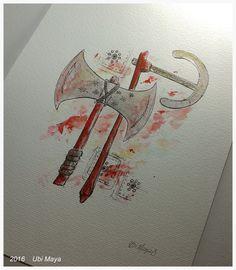 """Arte encomendada! """"SOGBÔ""""  Técnica: bico de pena e aquarela s/ papel de 300g/m², tamanho A4. https://www.instagram.com/notovitch/"""