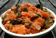African Yam Stew *subbed 14 oz blk & pinto beans, kale, 23 oz strained tom. Lighter on red pepper flakes for kids YUMMO