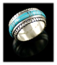 Turquoise Inlaid Ring Band via Durango Silver
