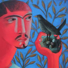 """Clive Hicks-Jenkins from the Kevin and the Blackbird series: """"This is far from the wondering boy of the previous paintings..this Kevin is sharp-eyed and cool, despite his flaming skin. He is after all a hermit, a man well used to the privations of  an existence stripped of comfort...The Blackbird stares at him quite as hard as he stares at her. They're equals in the eyes of creation and they both know it."""""""