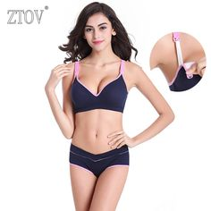 be0d89bbb9 ZTOV Cotton Maternity nursing bra set Upper buckle wire free Breastfeeding  bra for Pregnant women Pregnancy