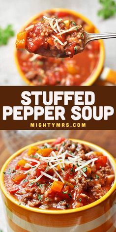 This Stuffed Pepper Soup recipe is quick and easy and can be made in the crockpot or on the stovetop. You only need a handful of ingredients incuding bell peppers, onions, tomato soup, ground beef or turkey, Italian seasoning, olive oil, and beef broth. Serve over rice or healthy quinoa and top with shredded or grated Parmesan cheese. Save time by using pre-cooked rice or cook in the instapot. An easy weeknight dinner idea. Great for lunches too. Feeds a family. Best Soup Recipes, Healthy Dinner Recipes, Easy Recipes, Gumbo Recipes, Favorite Recipes, Chili Recipes, Stuffed Peppers Healthy, Stuffed Pepper Soup, Easy Family Dinners