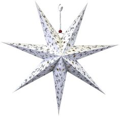 """Decorations - 7 Point Star Paper Lantern 24"""" White with Silver Glitter Galaxy (($))"""