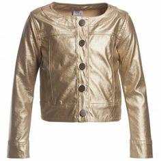 METALLIC TREND 2014??? Konigsmuhle Girls Metallic Gold Leather Look Jacket ($90+)