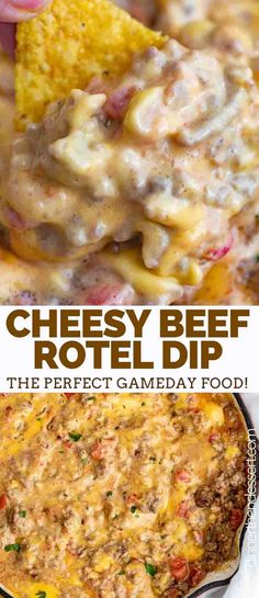 Cheesy Beef Rotel Dip is spicy, creamy, and the EASIEST dip you can make with only 5 ingredients in under 15 minutes! #velveeta #dip #appetizer #recipe #partyfood #gameday #snack #chiles #spicy #dinnerthendessert Rotel Dip Velveeta, Rotel Cheese Dip, Crockpot Rotel Dip, Velveeta Recipes, Velvetta Sausage Dip, Macaroni And Cheese, Partyfood, Crock Pot Dips, Salsa Recipe With Rotel