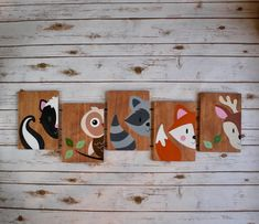 Baby nursery bedroom wall art decor woodland forest animal friends hand painted bear skunk owl raccoon fox deer rabbit squirrel forest animals theme ideas for toddlers and preschoolers Baby Owl Nursery, Nursery Wall Art, Wall Art Decor, Bedroom Wall, Baby Bedroom, Nursery Ideas, Bedroom Decor, Nursery Paintings, Girl Nursery