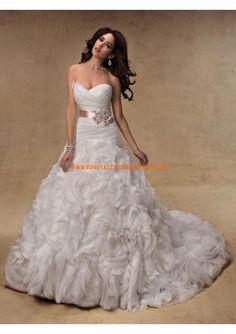 2013 Klassische elegante Brautkleider aus Satin und Organza mit Schleppe Herzausschnitt