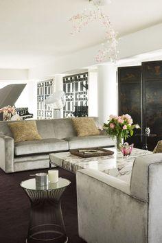 david hicks - gray sofa+carrera marble coffee table