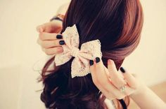 simple and cute. hairstyle with bow.