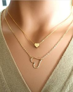 18K Gold Plated Hollow Heart Love Heart Charm Necklace. $7.95+free shipping.