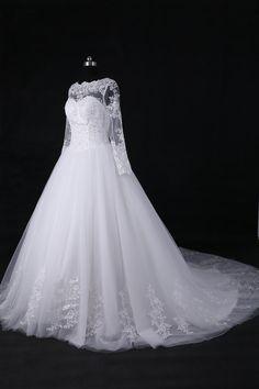 Unique Long Sleeves Lace Wedding Dress/Cathedral Wedding Gown/Long Tail Wedding Dress/A Line Bridal Dress/Ball Gown Wedding Dress WDD045