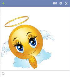 This beautiful angel smiley is sweetly serene.