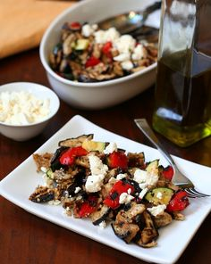 Dry grilled vegetables chopped and tossed with extra virgin olive oil and crumbled feta. A healthy, flavourful and satisfying summer side dish. This post is sponsored by California Olive Ranch. Gr...