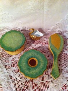 Vintage Celluloid Dresser Set  Green and by ThePinkVintageRose