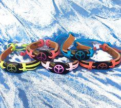Leather Neon Peace Bracelet