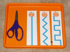 Halloween Montessori activities: scissors practice using free printables    Gift of Curiosity